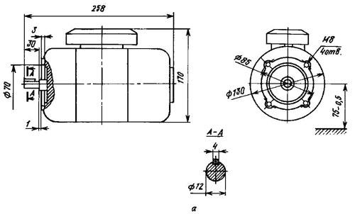ПЛ-072 О4 IM3601 140Вт 220В 1500 об/хв електродвигун габаритні, установчі та приєднувальні розміри