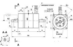 УАД-54 электродвигатель чертеж с двумя выходными концами вала и крепительным фланцем на корпусе
