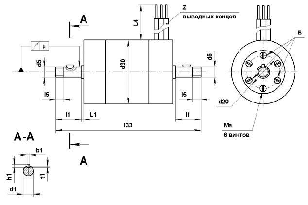 УАД-54 электродвигатель чертеж